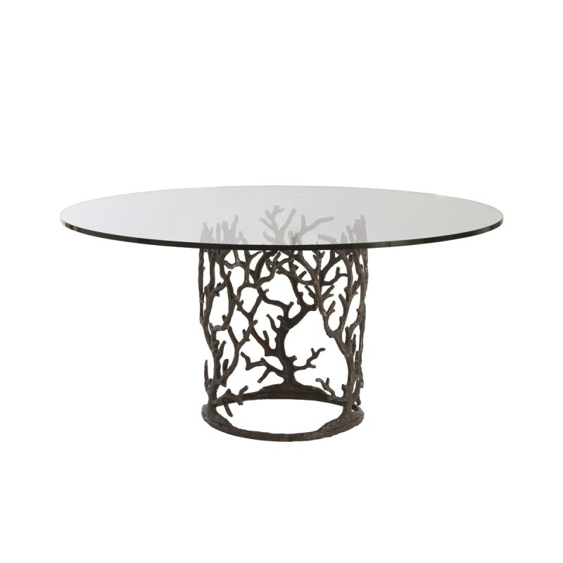 "Arteriors 3195-66 Ursula 66"" Diameter Glass Top Dining Table Natural"