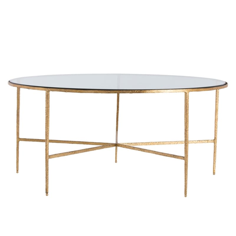 Arteriors 4013 Winchester 36 Inch Diameter Glass Top Iron Coffee Table