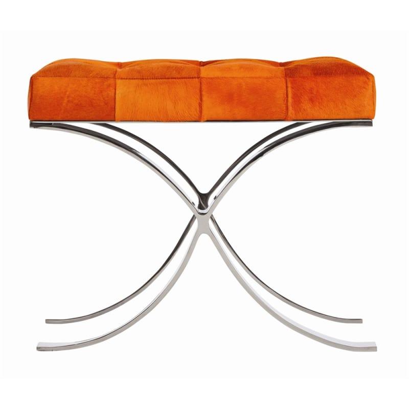 Arteriors 4022 Decker 20.5 Inch Tall Steel Framed Leather Stool Orange