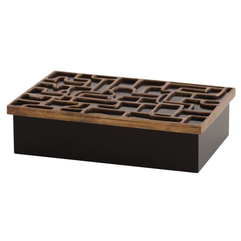 Arteriors 4040 Piper 16.5 Inch Wide Box Antique Brass Home Decor Boxes