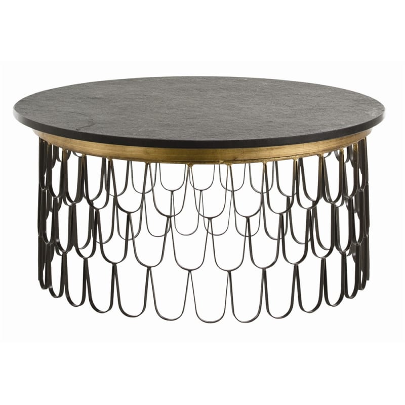 Arteriors 4083 Orleans 36 Inch Diameter Granite Top Iron Coffee Table