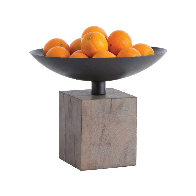 "Arteriors 4191 Templeton 16"" Wide Wood Decorative Bowl Washed Grey"
