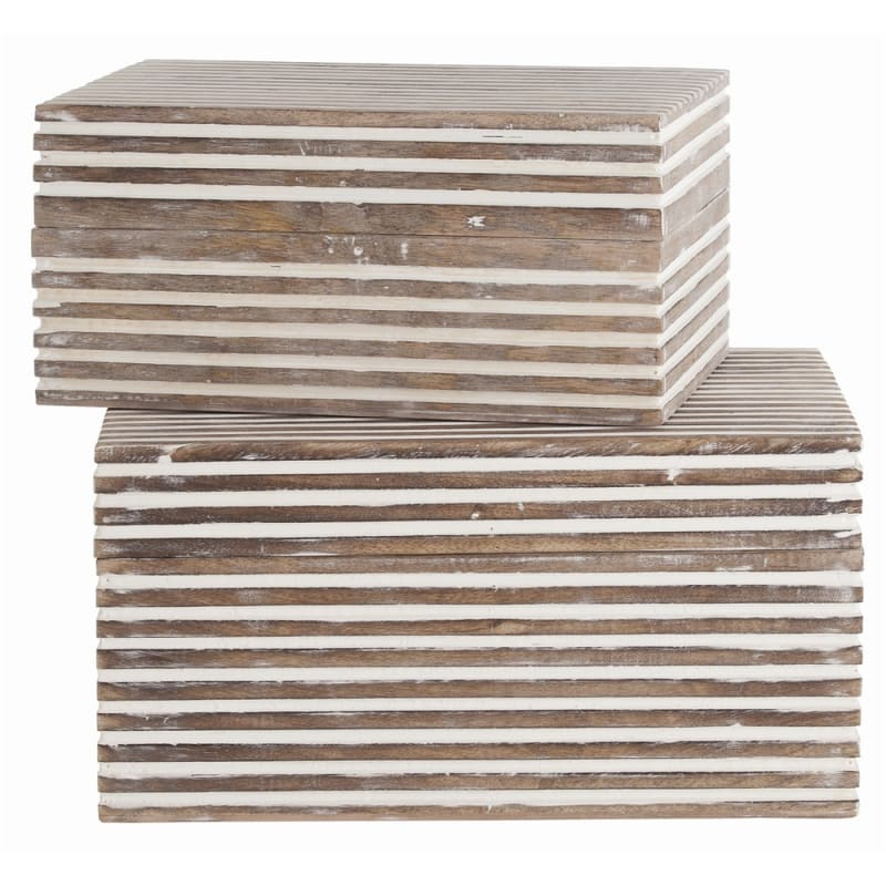 Arteriors 4296 Trinity 2 Piece Box Set Whitewashed Wood Home Decor