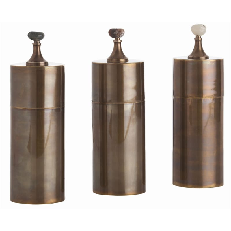 Arteriors 4301 Belfort 3 Piece Container Set Vintage Brass Home Decor