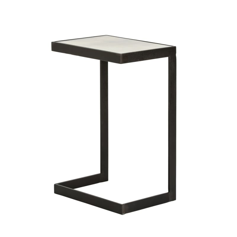 Arteriors 4335 Hattie 16.5 Inch Long Mirror Top Iron End Table Black
