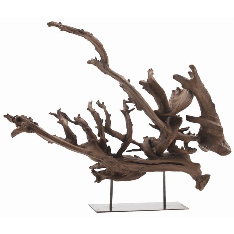 Arteriors 5415 Kazu 23.5 Inch Tall Wood Sculpture Natural Iron Home