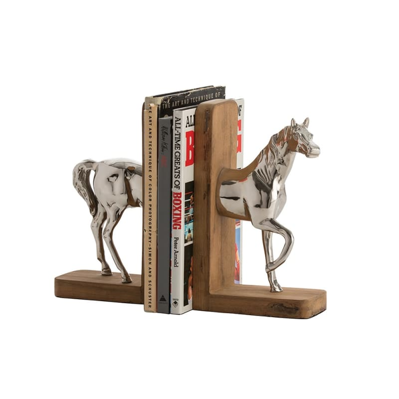 Arteriors 6109 Doyle 2 Piece Wood Bookends Set Polished Nickel Home