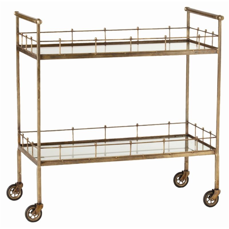 Arteriors 6525 Lisbon 33.5 Inch Tall Bar Cart Vintage Brass Furniture