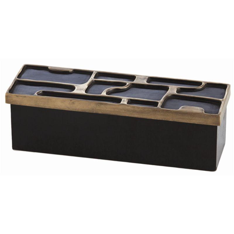 Arteriors 6538 Piper 10 Inch Wide Iron Box Black Bronze Home Decor