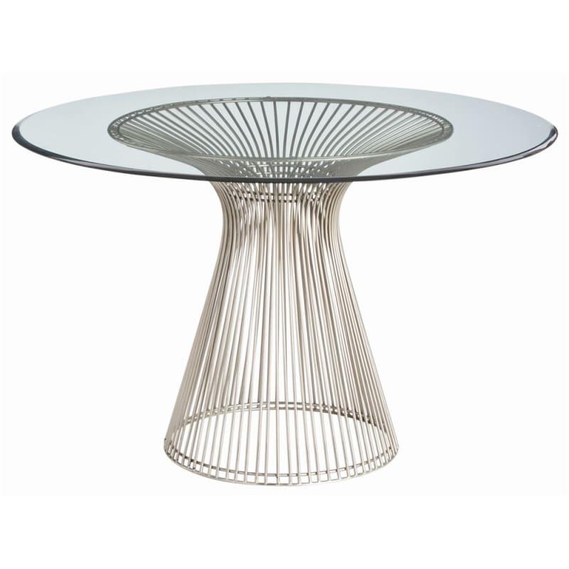 Arteriors 6556 Nova 47 Inch Diameter Glass Top Iron Accent Table