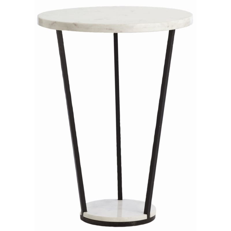 Arteriors 6581 Petra 21.5 Inch Diameter Marble Top Iron Accent Table