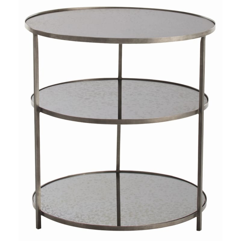 Arteriors 6553.6682 Percy 28 Inch Diameter Mirror Top Iron End Table