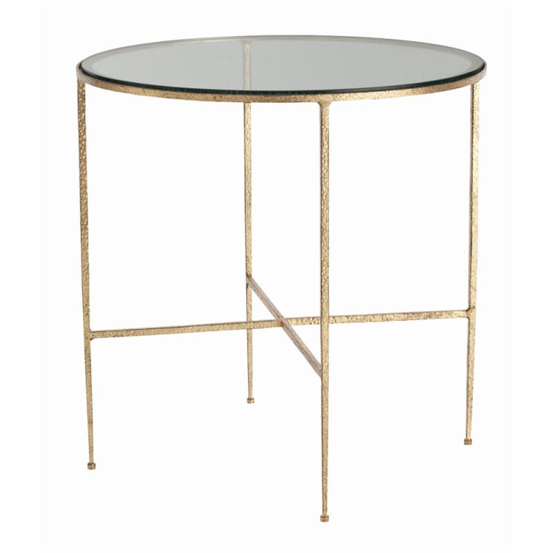 Arteriors 6754 Winchester 24 Inch Diameter Glass Top Iron End Table