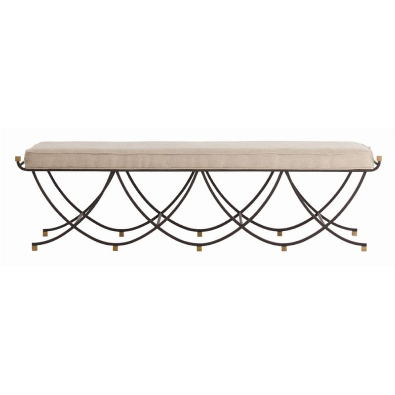 Arteriors 6772 Felice 63 Inch Wide Iron Framed Leather Bench Black