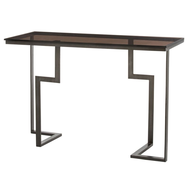 Arteriors 6802 Tisha 48 Inch Long Glass Top Iron Console Table Burnt