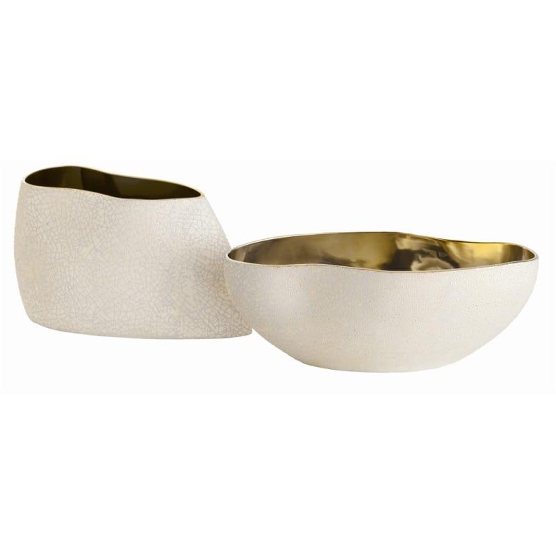 Arteriors 7676 Vanessa 2 Piece Porcelain Centerpiece Set Metallic Gold