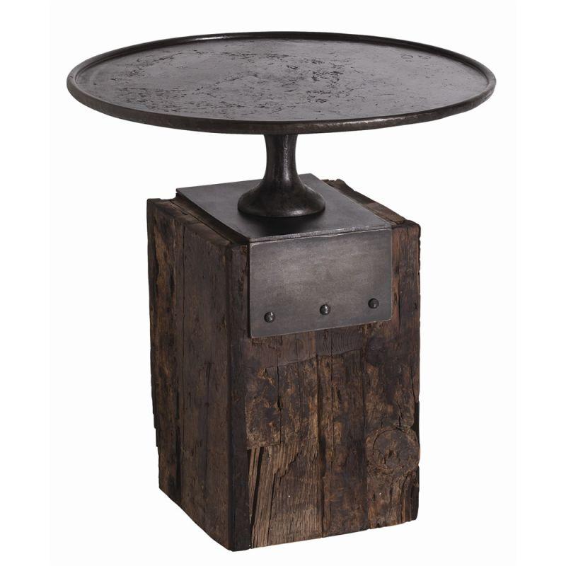 Arteriors DD2028 Anvil 25 Inch Diameter Wood Top Iron Bar Table Burnt