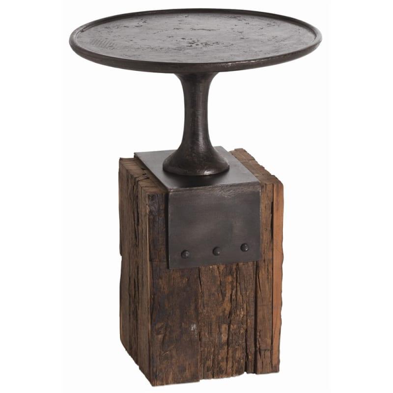 Arteriors DD2029 Anvil 18 Inch Diameter Wood Top Iron Bar Table Burnt