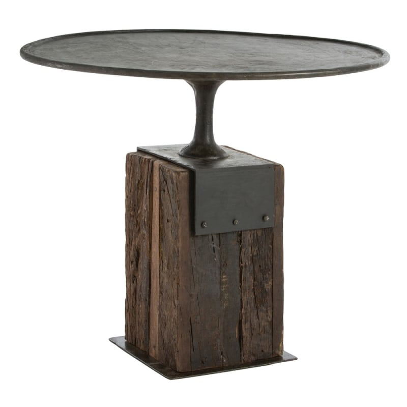 Arteriors DD2062 Anvil 35.5 Inch Diameter Wood Top Iron Bistro Table