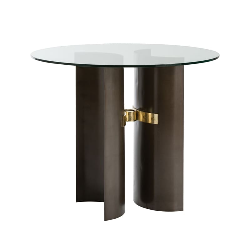 "Arteriors DD2071 Xylo 48"" Diameter Glass Top End Table Natural Iron"