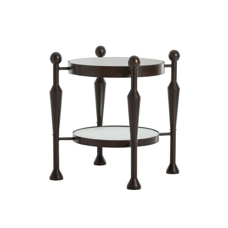 "Arteriors DD2080 Thebes 21"" Wide Glass Top End Table Burnt Wax"