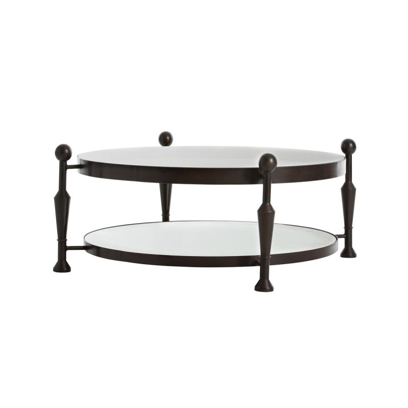 "Arteriors DD2081 Thebes 47"" Wide Glass Top Coffee Table Burnt Wax"