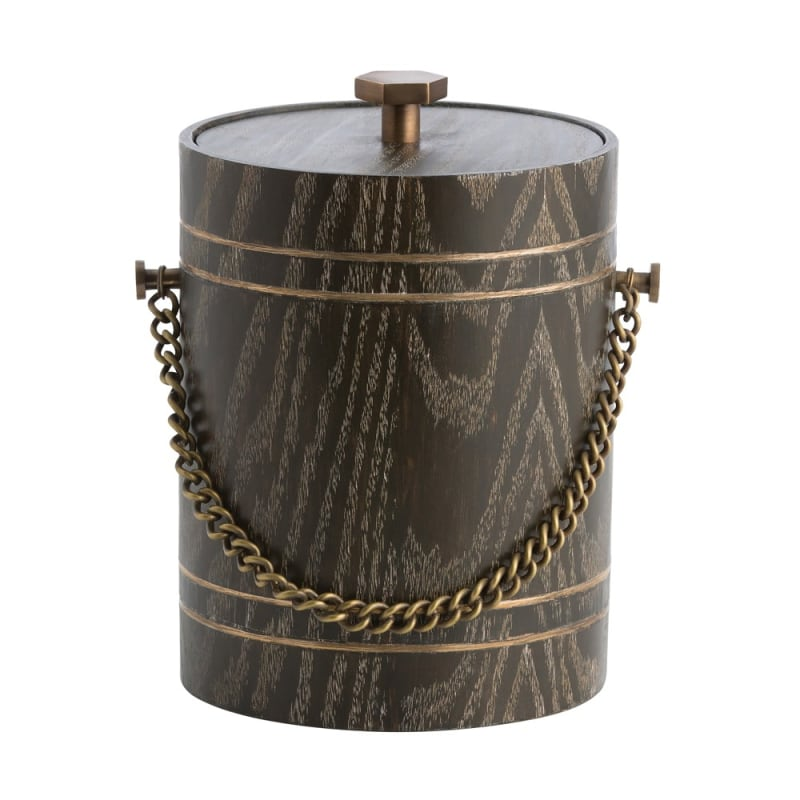 Arteriors DJ2030 Gilles 10 Inch Tall Wood Ice Bucket Cerused Oak Home