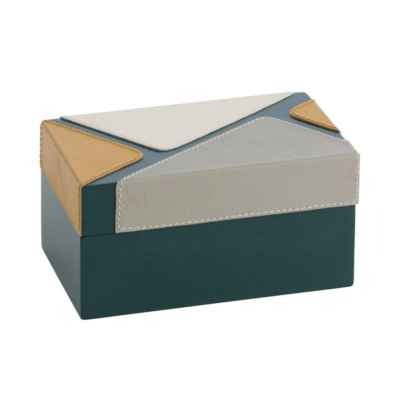 Arteriors DJ2034 Mondrian 8 Inch Wide Wood Box Baltic Lacquer Home