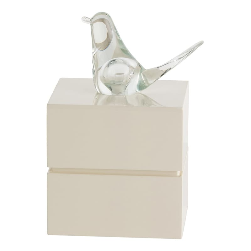Arteriors DK9951 Dove 7 Inch Wide Resin Box Ivory Lacquer Home Decor