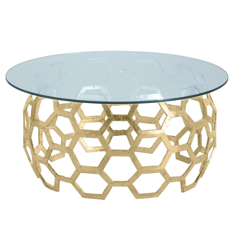 Arteriors DS2011-48 Dolma 48 Inch Diameter Glass Top Aluminum Coffee