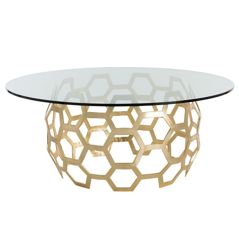 Arteriors DS2012-60 Dolma 60 Inch Diameter Glass Top Aluminum Coffee