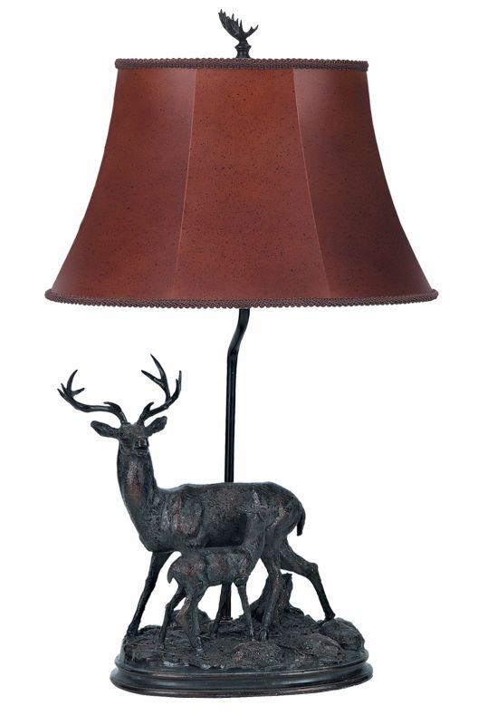 """Cal Lighting BO-610 Dark Bronze Deer 100 Watt 28"""" Country / Rustic Resin Deer Table Lamp with On/Off Switch and Oval Bell Leatherette Shade from the Deer Collec"""