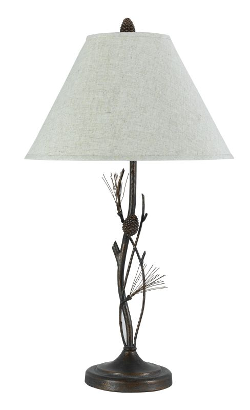 """Cal Lighting BO-961TB Willow Pine Twig 150 Watt 32"""" Country / Rustic Metal Table Lamp with 3-Way Switch and Round Linen Shade from the Pine Twig Collection"""
