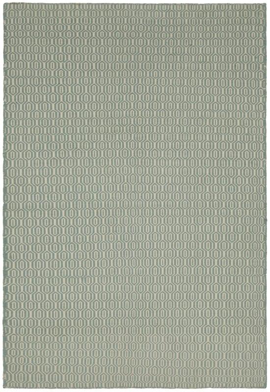 Chandra Rugs Diva 28602 Cream and Aqua New Zealand Wool Shag Area Rug