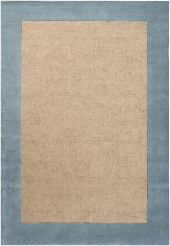 Chandra Rugs Hickory 23501 Blue and Tan Wool Blend Shag Area Rug Hand