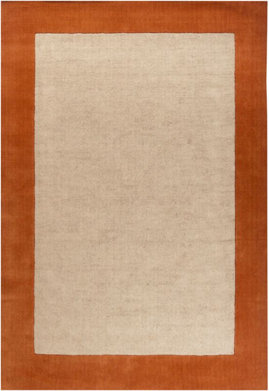 Chandra Rugs Hickory 23503 Orange and Tan Wool Blend Shag Area Rug
