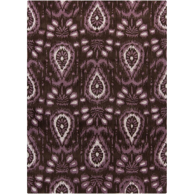 Chandra Rugs Lina 32000 Brown Purple and Ivory Imported Wool Shag