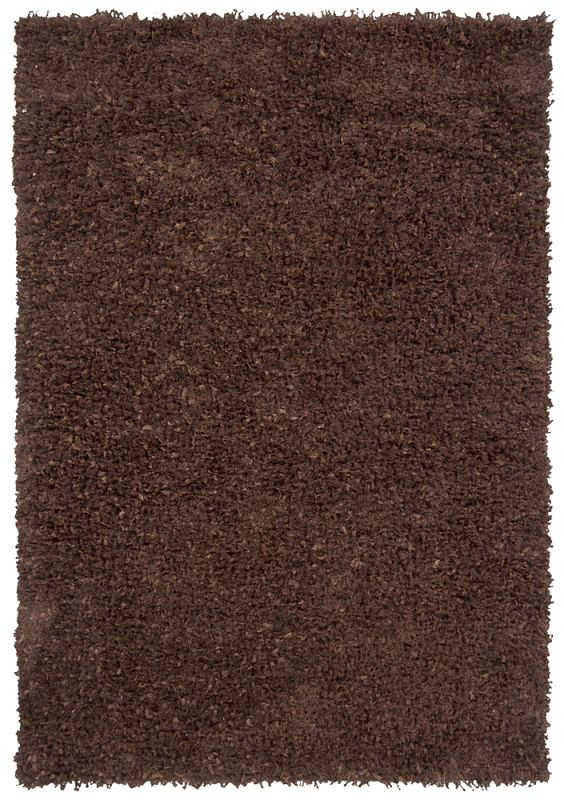 Chandra Rugs Riza 19500 Brown Art Silk and Polyester Shag Area Rug
