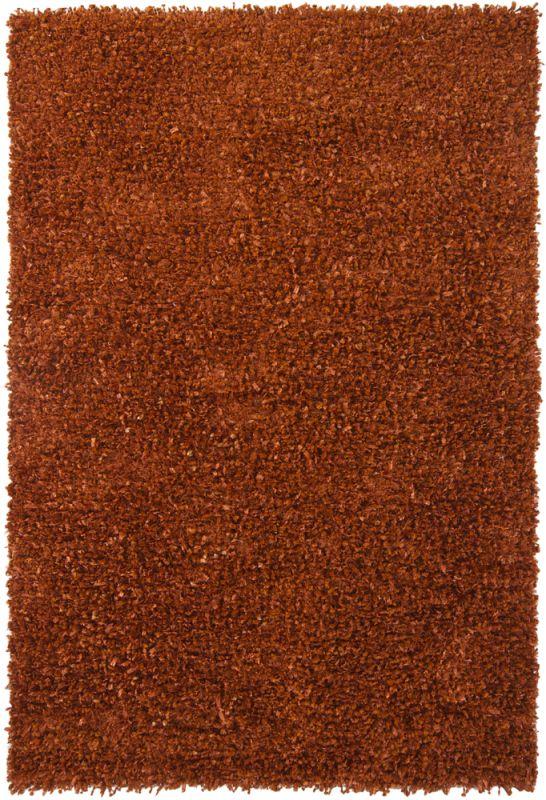 Chandra Rugs Riza 19501 Orange Art Silk and Polyester Shag Area Rug