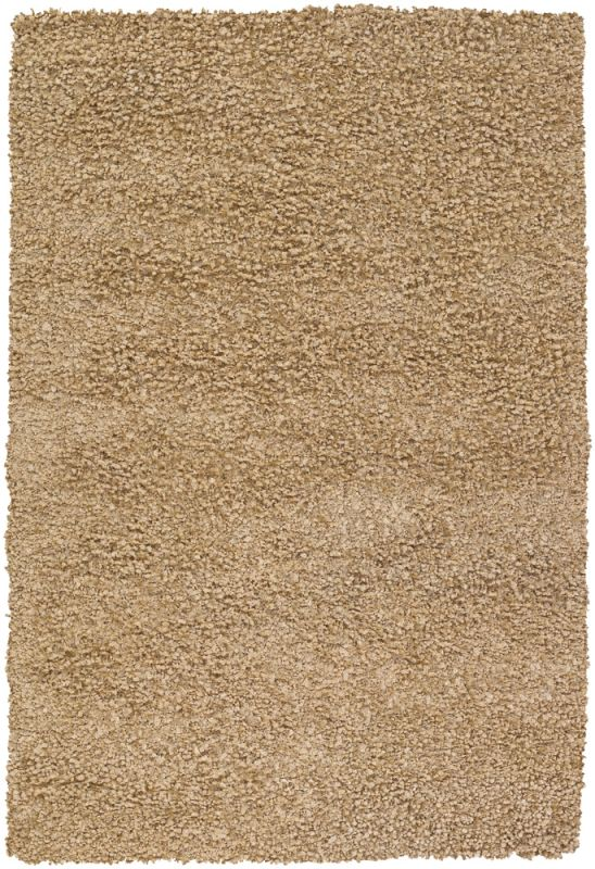 Chandra Rugs Riza 19502 Tan Art Silk and Polyester Shag Area Rug Hand