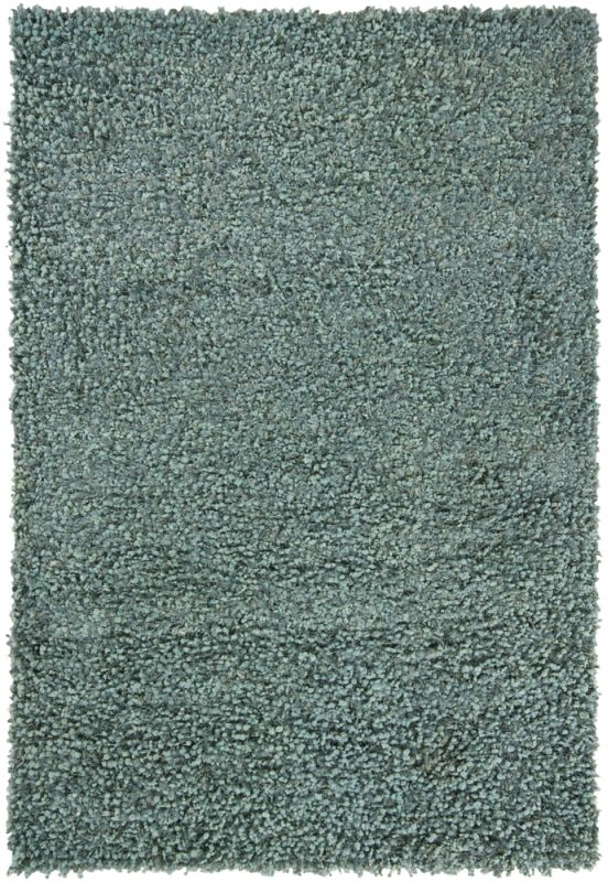 Chandra Rugs Riza 19504 Blue and Teal Art Silk and Polyester Shag Area