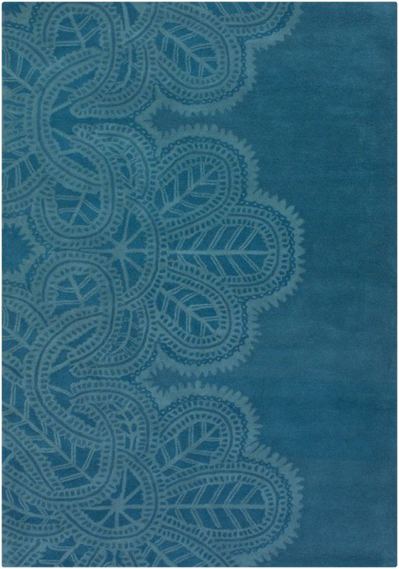 Chandra Rugs Taru 18701 Blue New Zealand Wool Shag Area Rug Hand