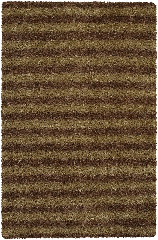 Chandra Rugs Zara 14540 Brown and Cream Polyester Shag Area Rug Hand
