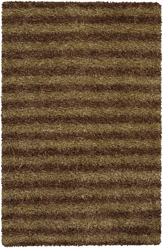 Chandra Rugs Zara 14540 Brown and Cream Polyester Shag Area Rug Hand