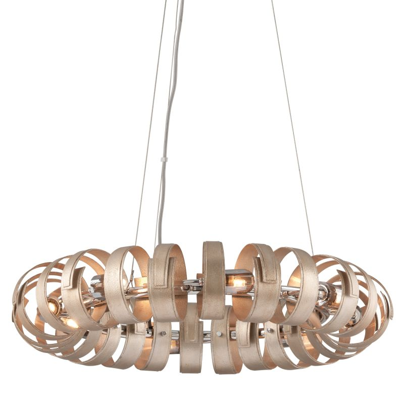 Corbett Lighting 191-48 Recoil 8 Light Pendant with Hand-Crafted Iron