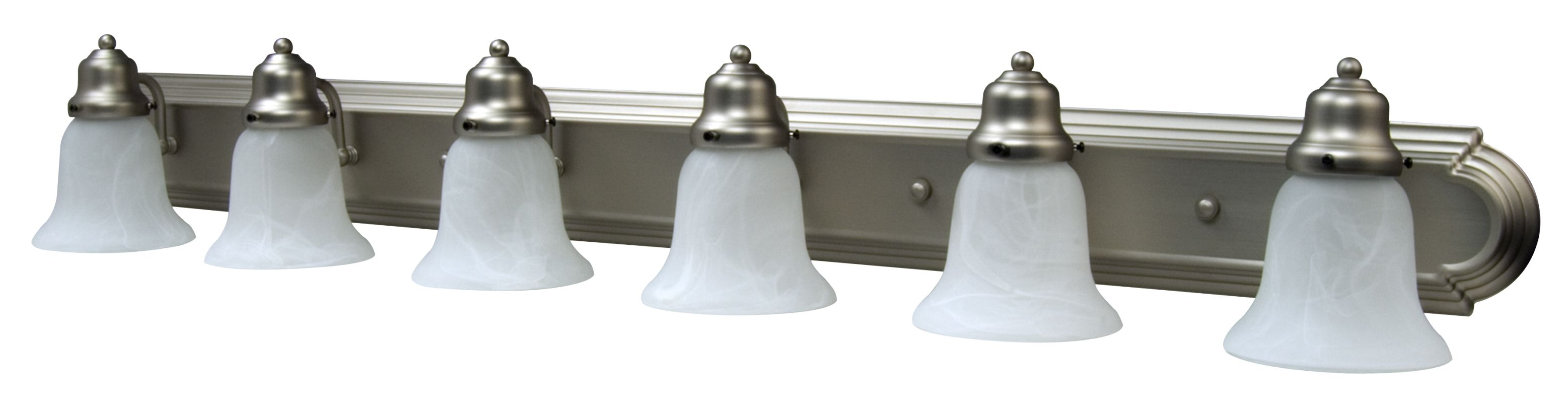 brushed nickel racetrack 6 light bathroom vanity light 48 inches