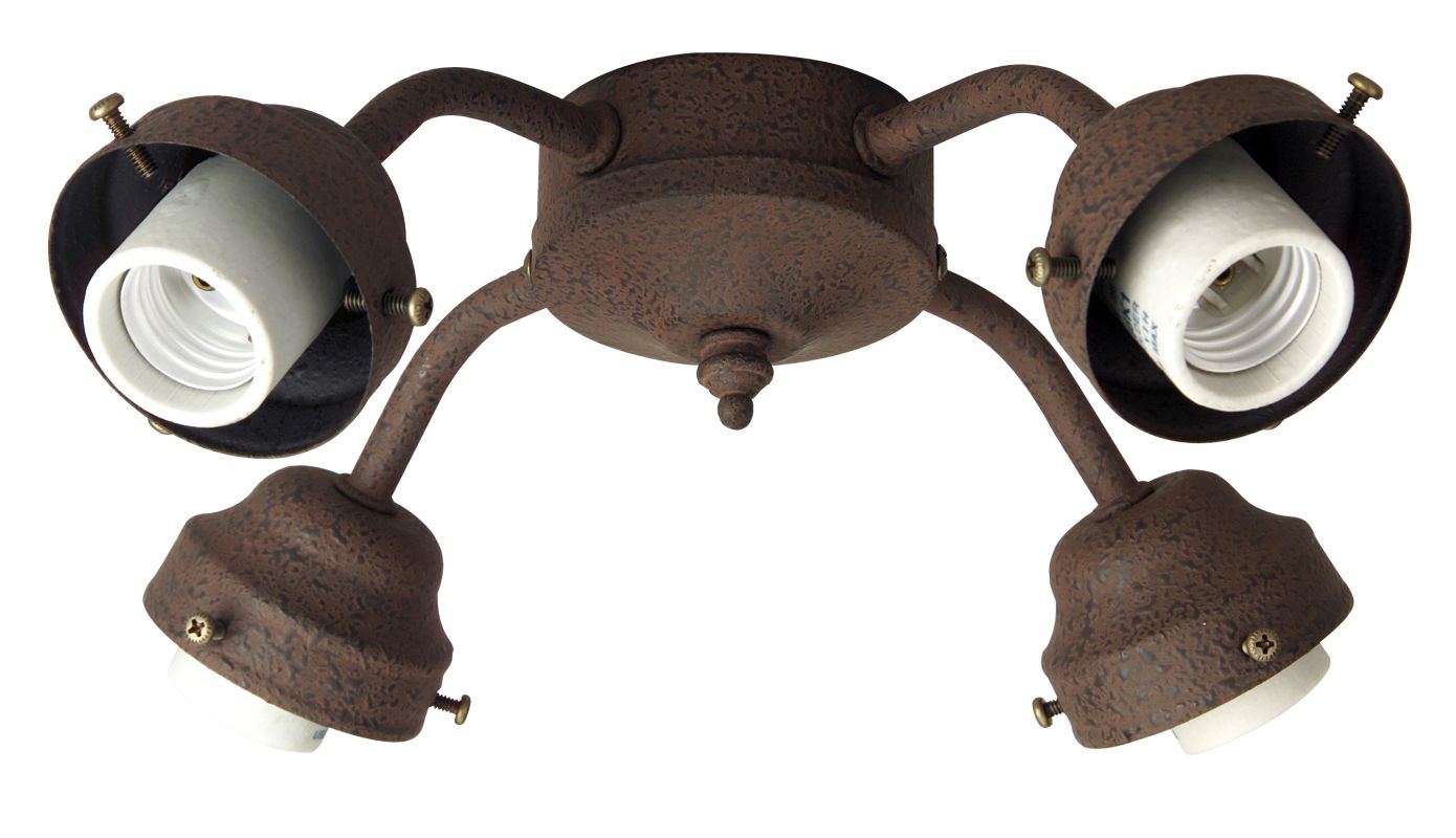 Craftmade F400CFL Four Light Ceiling Fan Fitter Rustic Iron Ceiling