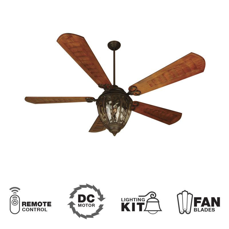 "Craftmade Olivier Olivier 70"" 5 Blade DC Outdoor Ceiling Fan - Remote"
