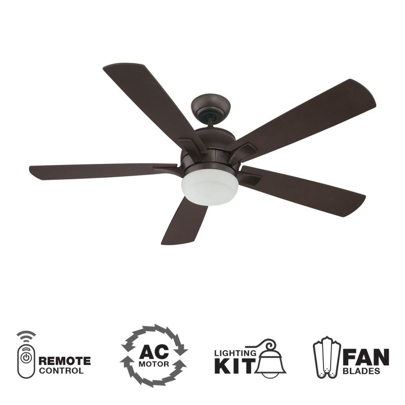 "Craftmade Pulsar 52"" 5 Blade Indoor Ceiling Fan - Blades Remote and"