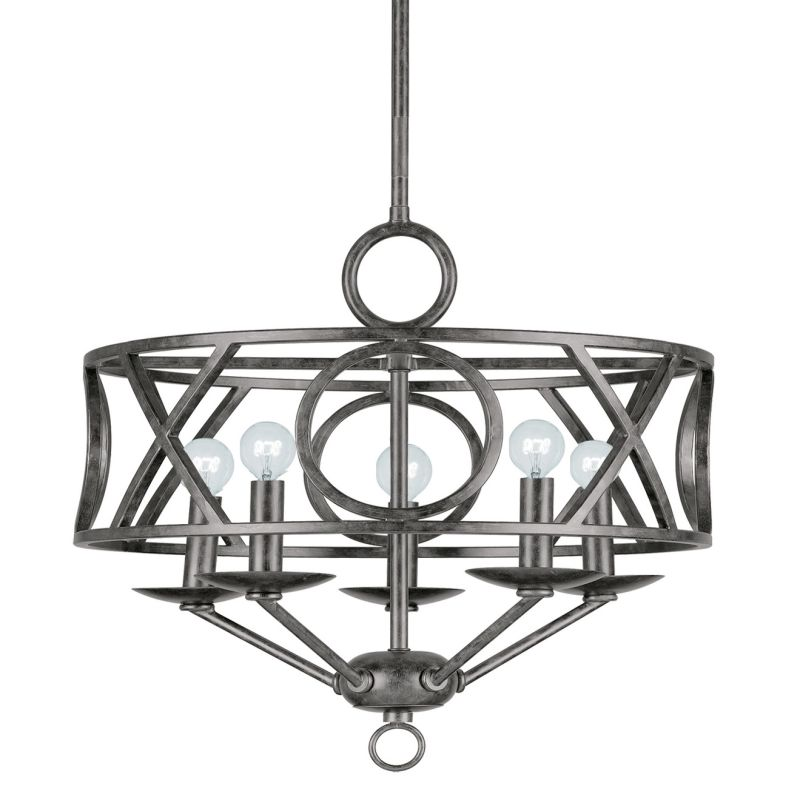 "Crystorama Lighting Group 9245 Odette 5 Light 17"" Wide Wrought Iron"